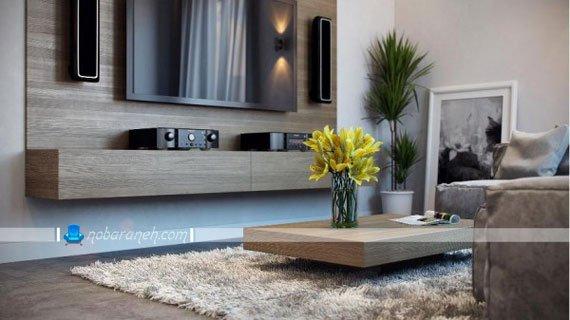 میز تلویزیون و سینمای خانگی نصب شده روی دیوار، میز پاکوتاه چوبی ، مدل فرش و موکت پرزدار