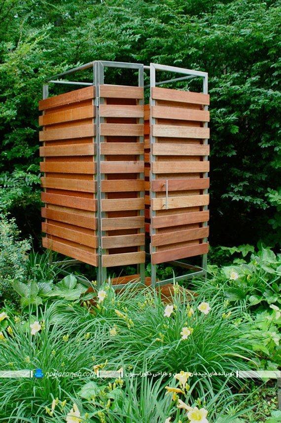 اتاقک دوش چوبی و فلزی مناسب خانه های ویلایی / عکس