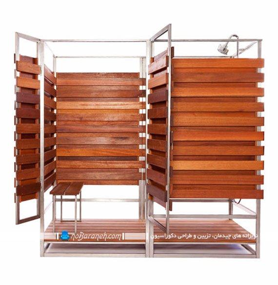 عکس و مدل کابین چوبی دوش و رختکن دو قلو برای فضای خارجی / عکس