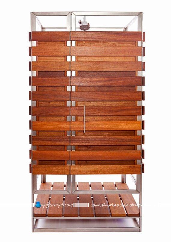 طرح جدید کابین دوش چوبی برای کنار استخر رو باز