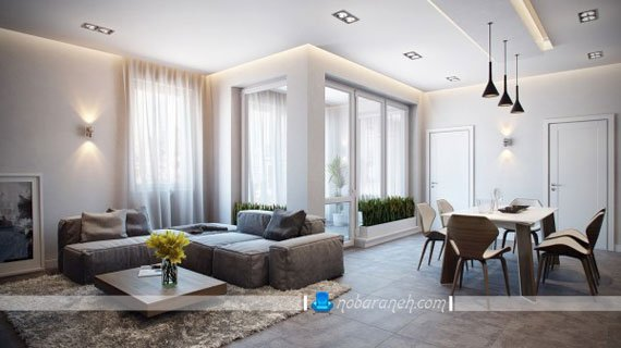 چیدمان میز ناهارخوری و مبلمان راحتی در سالن خانه، نورپردازی دیواری مدرن، مدل مبل راحتی 5 نفره