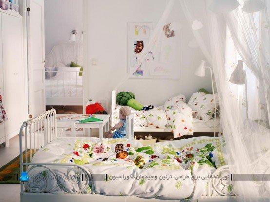 طراحی دکوراسیون اتاق خواب کودکان دوقلو با رنگ سفید / عکس