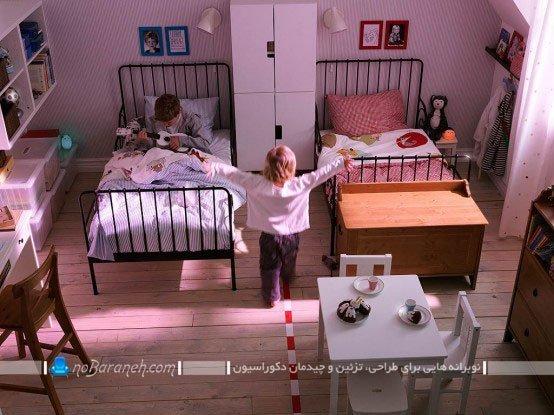 مدل چیدمان تخت خواب اتاق بچه ها در کنار هم / عکس