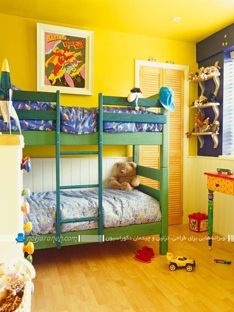 عکس و مدل تزیین پسرانه اتاق کودکان دو قلو با رنگ زرد / عکس