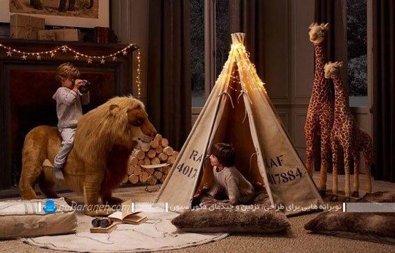 تزیین اتاق کودک با چادر سرخپوستی و عروسک حیوانات