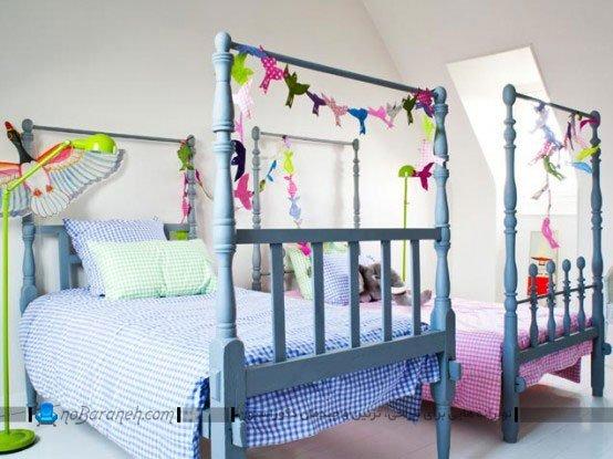 دیزاین دخترانه اتاق مشترک کودکان دو قلو