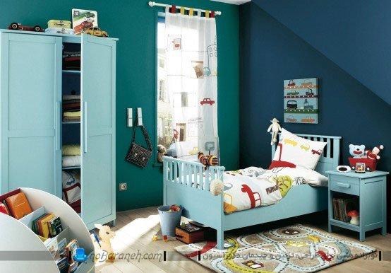 دیزاین اتاق بچه ها با رنگ آبی و فسفری