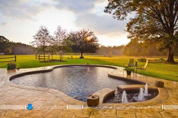 استخر روباز ویلایی با حوضچه دکوراتیو