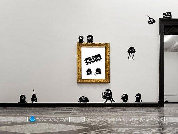 استیکر اتاق خواب کودک با طرح موجودات فضایی / عکس