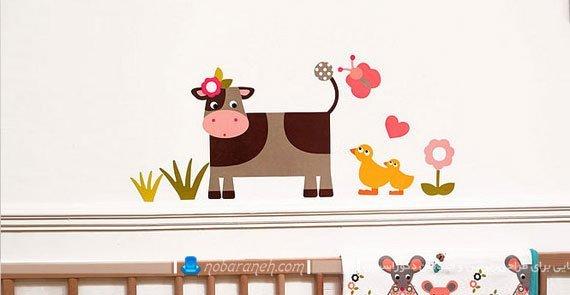 تزیین دیوار اتاق خواب کودک با استیکر و برچسب دیواری / عکس