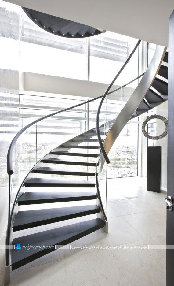 راه پله دوبلکس گرد چوبی و شیشه ای مدرن شیک فانتزی طرح 2020 2019. طرح های جدید راه پله دوبلکس خانگی برای دیزاین منزل.