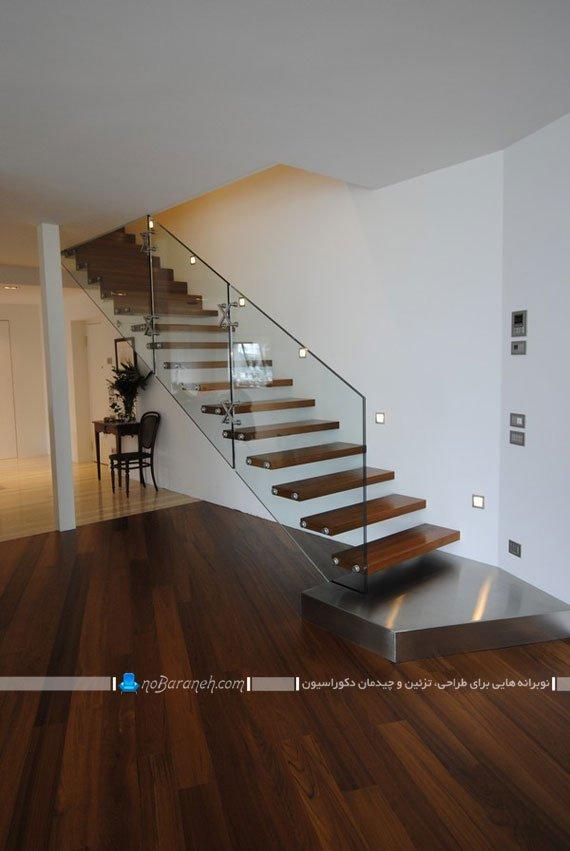 مدل پله دوبلکس شیشه ای و چوبی مدرن