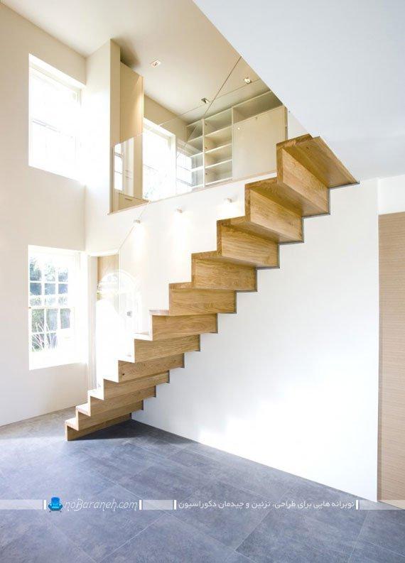 مدل راه پله مدرن چوبی با حفاظ و نرده شیشه ای. طرح جدید راه پله دوبلکس چوبی ساده با دیوار شیشه ای.