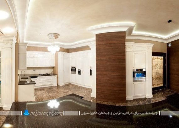 طراحی دکوراسیون داخلی آشپزخانه با رنگ های سرد، رما رزیدنس