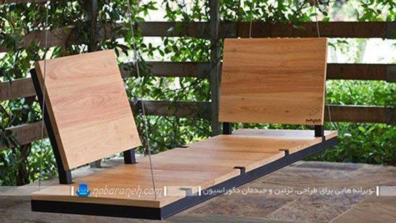 تاب خانگی چوبی و فلزی ساده و مدرن با طرح جدید. مدل های مدرن تاب فلزی و چوبی کوچک برای تراس و بالکن.