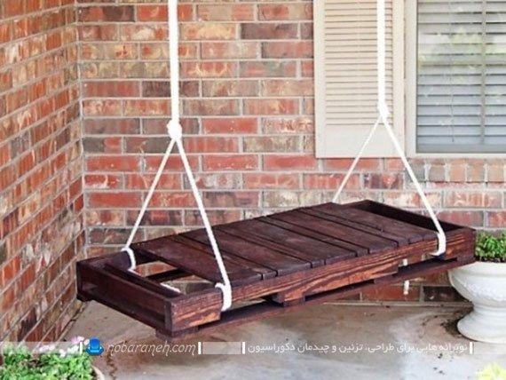 تاب خانگی چوبی و دست ساز ارزان قیمت برای منزل و تراس و بالکن. مدل جدید تاب های ساده چوبی دو نفره.