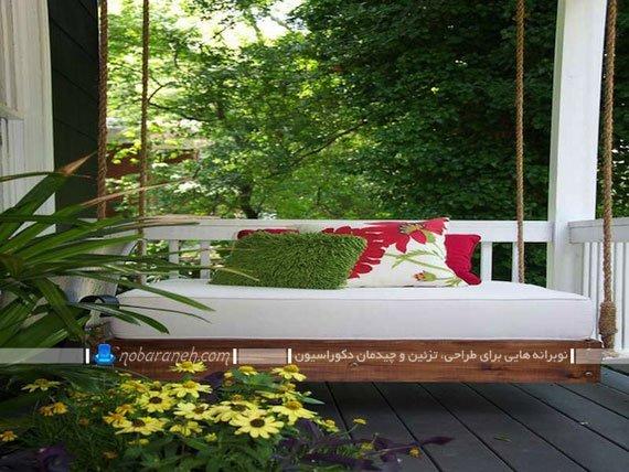 تاب خانگی بزرگ نشیمن دار با گنجایش زیاد. مدل جدید تاب چوبی بزرگ برای تراس و بالکن یا روف گاردن.