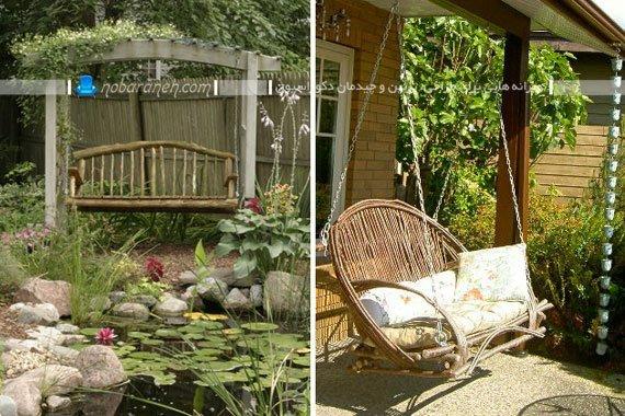 تاب خانگی حصیری فضای باز برای باغ و ویلا و فضاهای باز. مدل های جدید تاب ویلایی و باغی کلاسیک و حصیری.