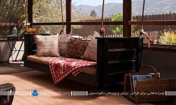 تاب چوبی خانگی دست ساز و بزرگ به شکل کاناپه راحتی. ایده های ساخت تاب با مبل های قدیمی.