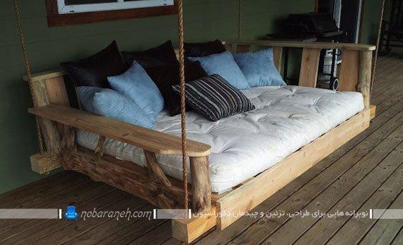 تاب خانگی بزرگ چوبی در مدل های جدید ساده ارزان قیمت. تاب تخته ای بزرگ و جادار چند نفره.