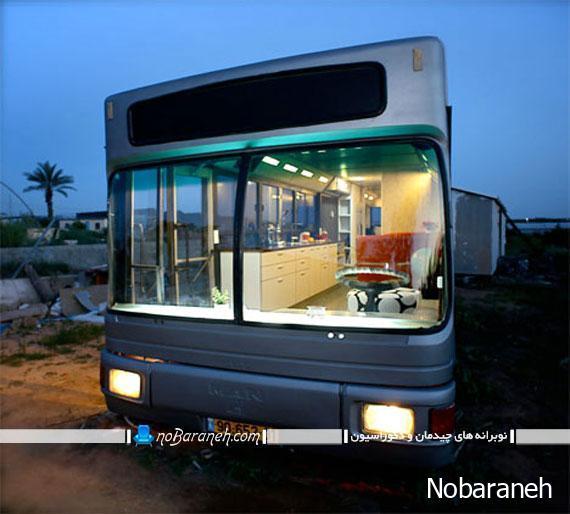 طراحی و تزیین دکوراسیون دیدنی و زیبا در اتوبوس قدیمی