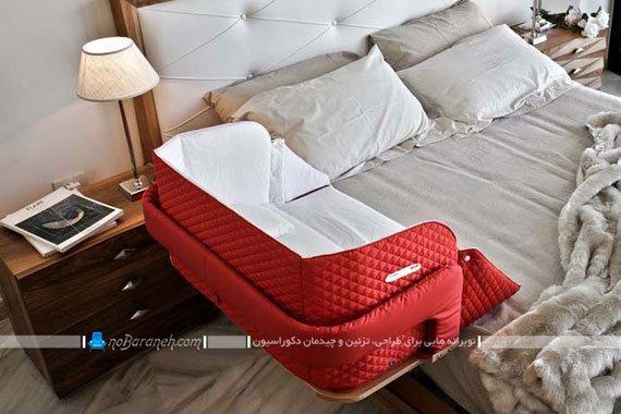 تخت خواب نوزاد قابل نصب به تخت مادر و پدر