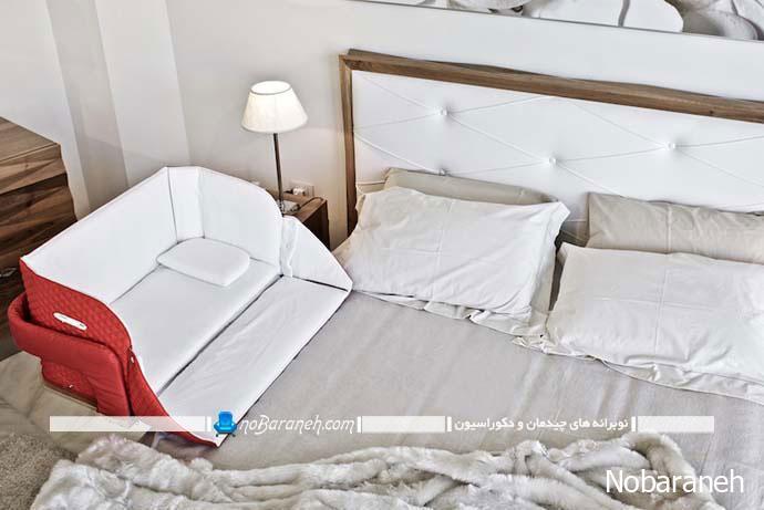 تخت خواب کودک نوزاد قابل نصب به سرویس خواب والدین