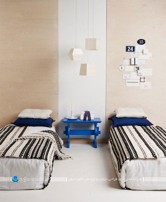 دکوراسیون پسرانه اتاق کودکان دوقلو با آبی و کرم