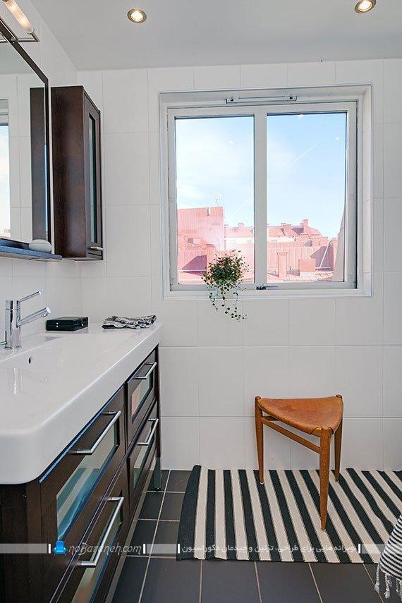 کابینت و کمد چوبی بزرگ در دکوراسیون حمام و سرویس بهداشتی / عکس