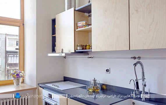 دکوراسیون مدرن آشپزخانه اپن در منزل 60 متری
