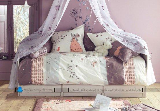 تزیین تخت خواب بچه دختر با رنگ بنفش / عکس