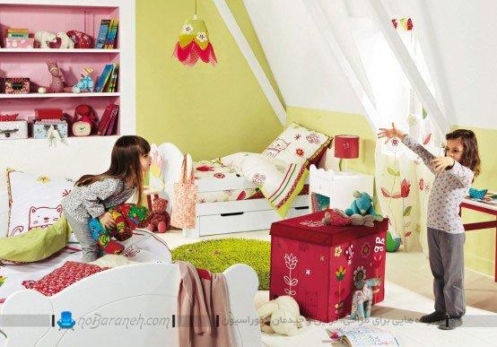 چیدمان تخت خواب دو قلو در اتاق خواب بچه ها / عکس