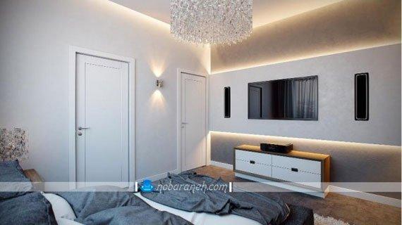 نورپردازی دیوار کاذب پشت تلویزیون، مدل های جدید میز تلویزیون، مدل های نصب تلویزوین به دیوار و تزیین آن