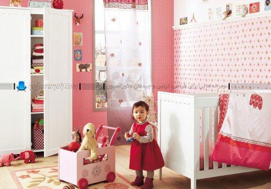تزیین اتاق نوزاد دختر با رنگ های قرمز و صورتی