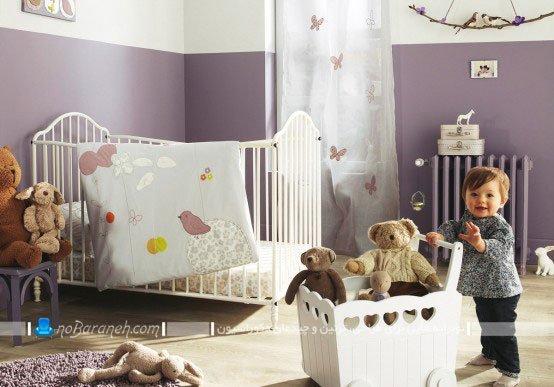 چیدمان اتاق کودک نوزاد به شکل ساده و زیبا