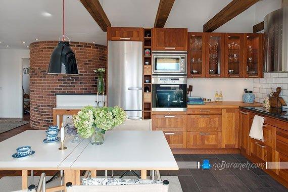 طراحی دکوراسیون آشپزخانه به شکل ساده و زیبا