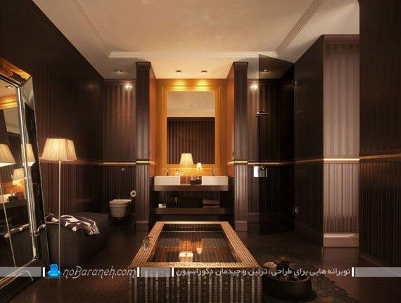 تزیین دکوراسیون داخلی حمام و دستشویی با رنگ قهوه ای / عکس