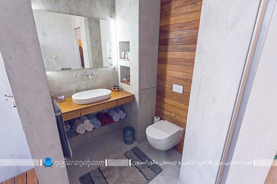 تزیین توالت و روشویی با دیوارپوش چوبی
