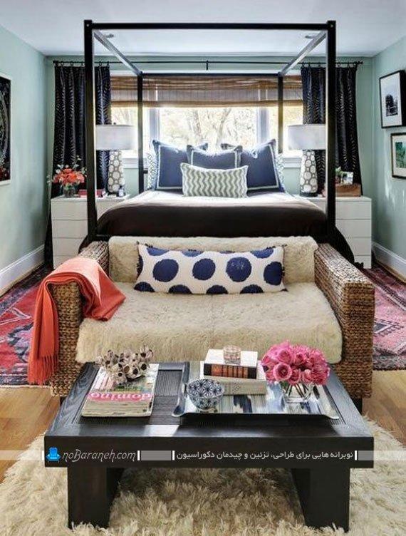 چیدمان مبل و کاناپه در اتاق خواب و کنار سرویس خواب