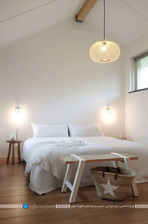 چیدمان نیمکت چوبی در اتاق خواب و اطراف سرویس خواب