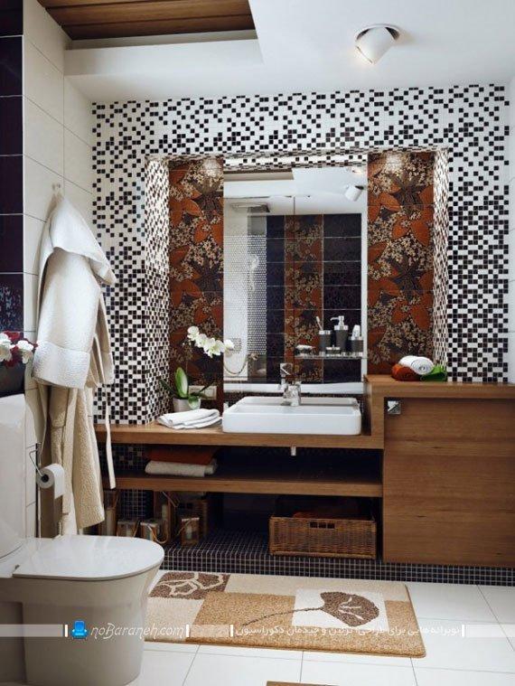 کاشی و سرامیک سیاه و سفید حمام / عکس