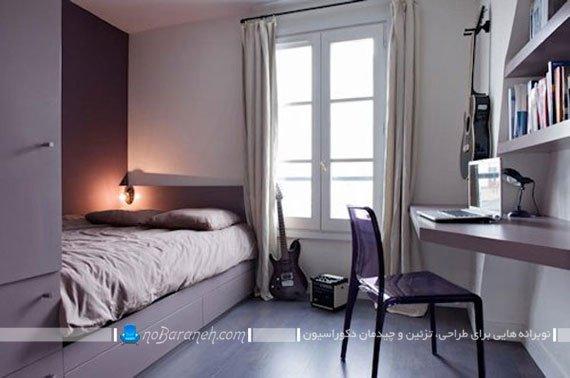 دکوراسیون اتاق خواب کوچک زنانه با رنگ بنفش