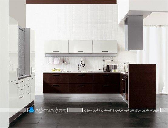 كابينت آشپزخانه سفید و قهوه ای / عکس
