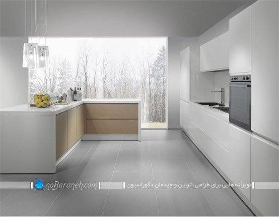 کابینت مدرن و سفید آشپزخانه