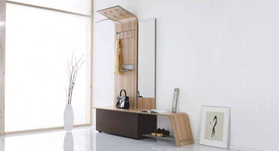 مدل جاکفشی و جالباسی چوبی با طراحی شیک و مدرن