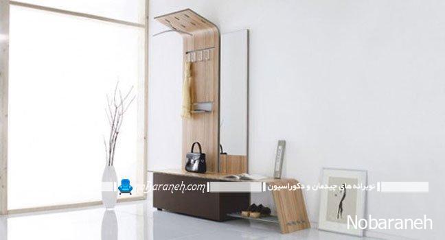 جاکفشی آینه دار و ظریف برای راهرو و کنار درب ورودی