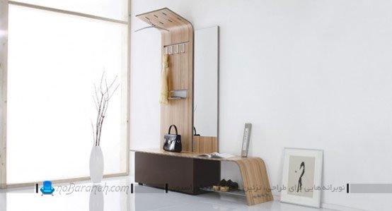 جاکفشی و جالباسی چوبی مدرن / عکس