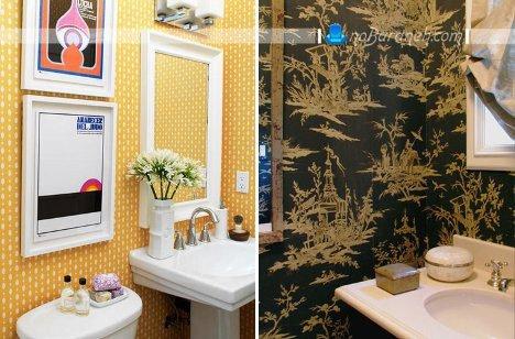 تزیینات دیوار حمام و دستشویی با کاغذ دیواری / عکس