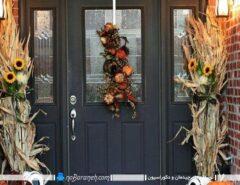 تزیین در ورودی خانه با گیاهان خشک شده