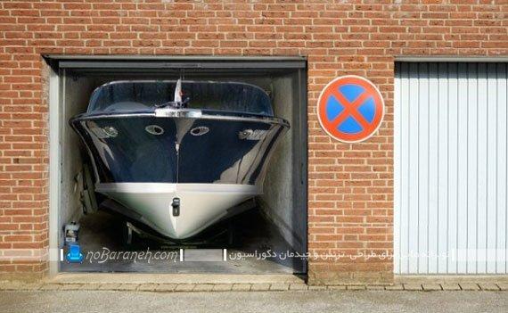 استیکر دیواری سه بعدی با طرح قایق پارک شده